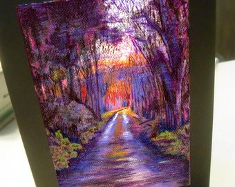 greeting card print of original art - into the light landscape trail