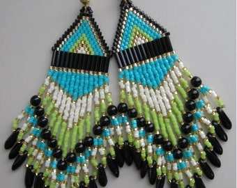 Native American Style Seed Bead Earrings - Lime/Turquoise