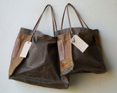 special - FARMERS MARKET TOTE - espresso waxed canvas  with sienna side pockets - ships today