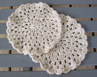 Set of two,cotton,face cloths,round,variegated,cream,tan,brown,bath,beauty,crocheted,soft,gift