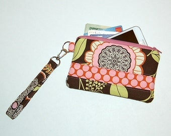 Lacework and Polka Dot Camel - Wristlet Purse with Removable Strap and Interior Pocket