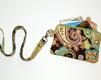 Pistachio Patti Paisley - Wallet Zipper Pouch with Removable Lanyard - Cell Phone Pouch / iPhone Pouch / ID Card Holder / Coin Purse