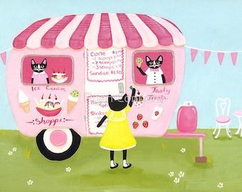 The Ice Cream Shoppe - Cat Folk Art Print 8x10, 11x14