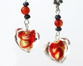 Red  and Gold Heart Earrings Murano Glass with Carnelian and Black Spinel Gemstones on Sterlling Silver Valentine Jewelry