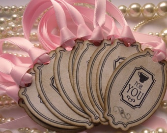 Wedding Favor Tags, Tea Wedding Favors, Coffee Gift Tags, Mothers Day Tags, Tea Party Tags, Pink Wedding Favors, Bachelorette Favors