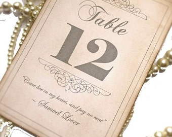 Wedding Table Numbers, Vintage QUOTES Table Numbers, Grey Quote Table Numbers, Quote Sign wedding, Vintage Wedding, Table Number Holder