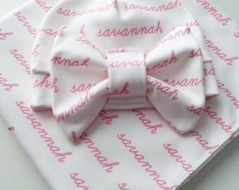 Hospital Coming Home Personalized Swaddle Blanket and Bow Beanie - organic cotton knit