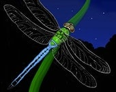 ACEO - Blue and Green Dragonfly - Fine Art Print - Digital Painting