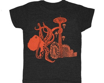 KIDS Octopus Coney Island Boardwalk T-shirt Boy Girl Carnival New York Children Tee Shirt Wonderwheel Cyclone Rollercoaster Brooklyn Tshirt