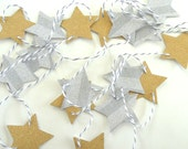 New Years Eve Gold and Silver Star Garland/Banner - 2 yards - Home Decor/New Years Decor