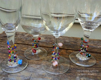 handmade glass beaded wine glass charms set party favors