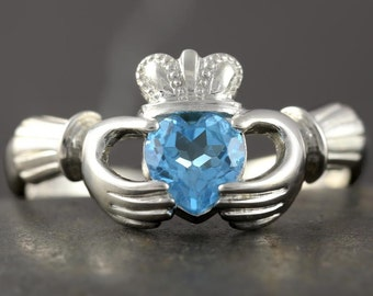Blue Topaz Claddagh Ring in Sterling Silver