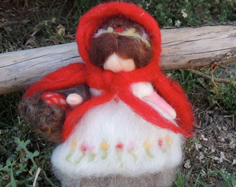 Needle Felted Wool Fairy - Red Cap - Red Riding Hood- Waldorf inspired standing doll with removeable cape