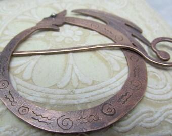 Copper Dragon Shawl Pin