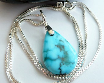 Handcrafted Artisan RARE Nacozari Turquoise Sterling Silver OOAK Southwestern Minimalist Bohemian Pendant Necklace