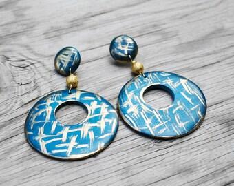 Wood Hoop Earrings, Painted Wood Earrings, Post Earrings, Spash Blue Wood Hoop Post Earrings