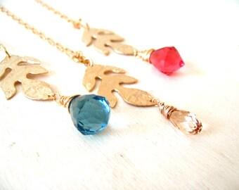 Boho Long Necklace Leaf pendant Blue Pink Gold Quartz Swarovski gift for her under 50 Vitrine