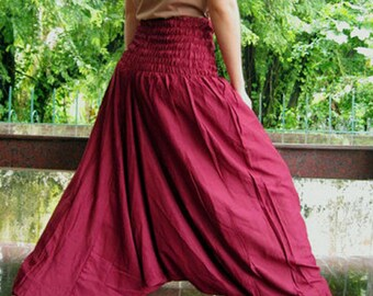 Hippie Gypsy Wide leg Maroon Rayon Harem Summer  Comfy Yoga  Pants S-L (P01)