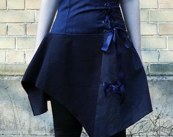 Navy skirt, high waist corset skirt with lace up detail, bow skirt, grommets lace up skirt cosplay skirt, dieselpunk lolita skirt MASQ