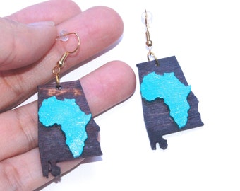 Alabama Earrings African American  Southern Dixie Jewelry Pop Art Teal and Wood Africa Earrings Triburban African American Art