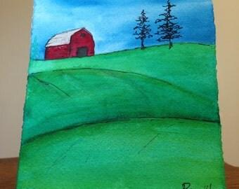 Art - Farm Scene- Original art watercolor