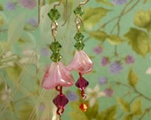 earrings Glass Flowers and Swarovski Crystals