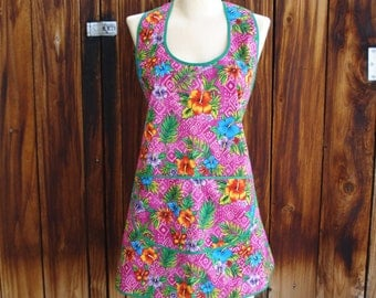 Vintage Style Apron in Tropical Flowers Print - One Size Fits Most - Ready to Ship