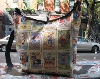 Dia de los muertos Cotton Print Cross Body Hobo Bag, Mexican Day of the Dead Cotton Print Sling Shoulder Bag
