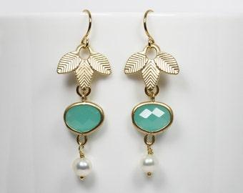 Mint Green Earrings Mint Green and Gold Leaf Dangle Earrings