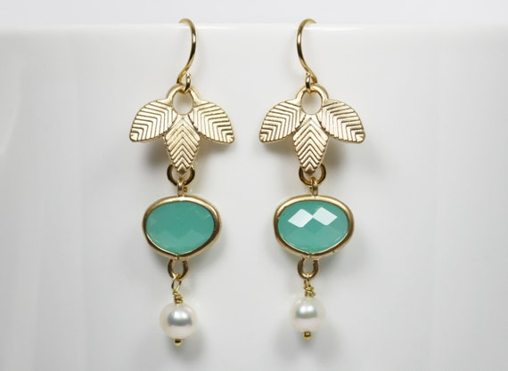 Mint Green Earrings Mint Green and Gold Leaf Dangle Earrings