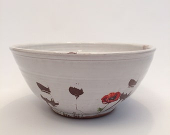 Poppy Serving Bowl with white glaze