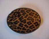 Belt Buckle - Leopard - Oval Wearable Art
