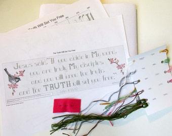 Cross stitch KIT - Truth Will Set You Free