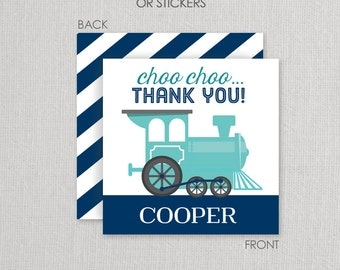 Train Stickers or Cardstock Gift Tags . Train Birthday Party . for Favors, Treat Bags and Envelope Seals