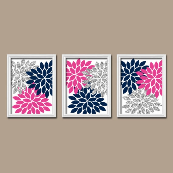 Glitter navy hot pink gray wall art bedroom canvas or prints - Sparkle wall decor ...