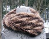 Mobius scarf soft brown stripes