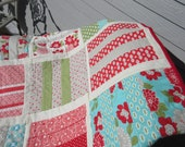 """Vintage Modern Quilted Throw or Lap Quilt  52"""" x 53"""""""