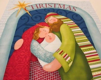 Quilted Nativity Wall Hanging with fabric designed by Nancy Halvorsen of Benartex