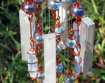Blue Kyanite Windchime / Wind Chimes with Recycled Aluminum and Copper Wire Wrapped Royal and Sky Blue Glass Marble Prisms, Garden Decor