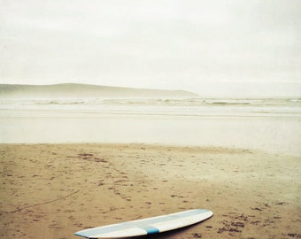 "Beach ocean photography print, surf board on the beach summer california wall art ""California Surfing"""
