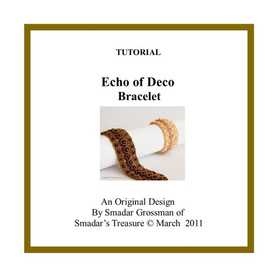 Beading Tutorial, Echo of Deco Bracelet. Pattern with Seed Beads and Pearls. Instant Download PDF File Beadweaving Instructions