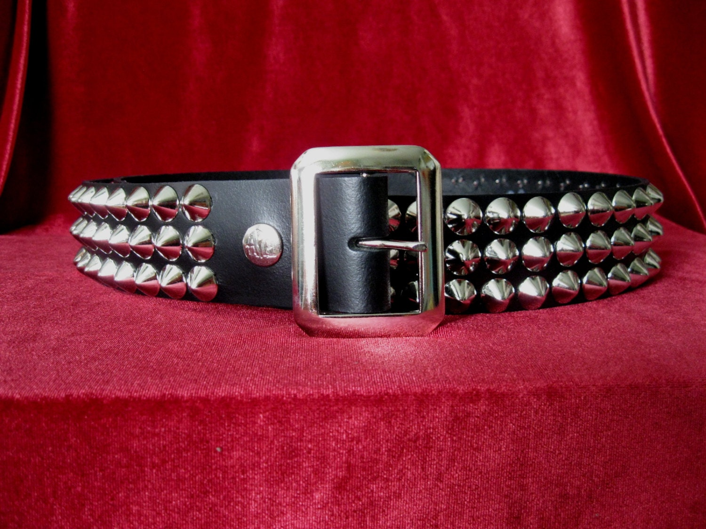 Lighting Basement Washroom Stairs: Black Leather Three Row Cone Stud Belt From Ape Leather
