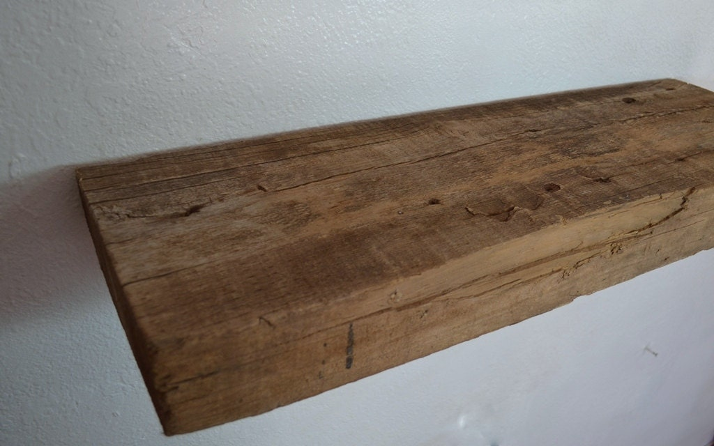 Natural Chunky Style Wood Wall Shelf 3 Inch Thick 30 Wide 9