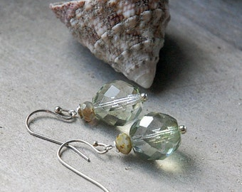 Water over Rocks - Crystal Glass Earrings, Earthy Sparkle, Petite Dangle,Christmas Gift for Her, Last Pair