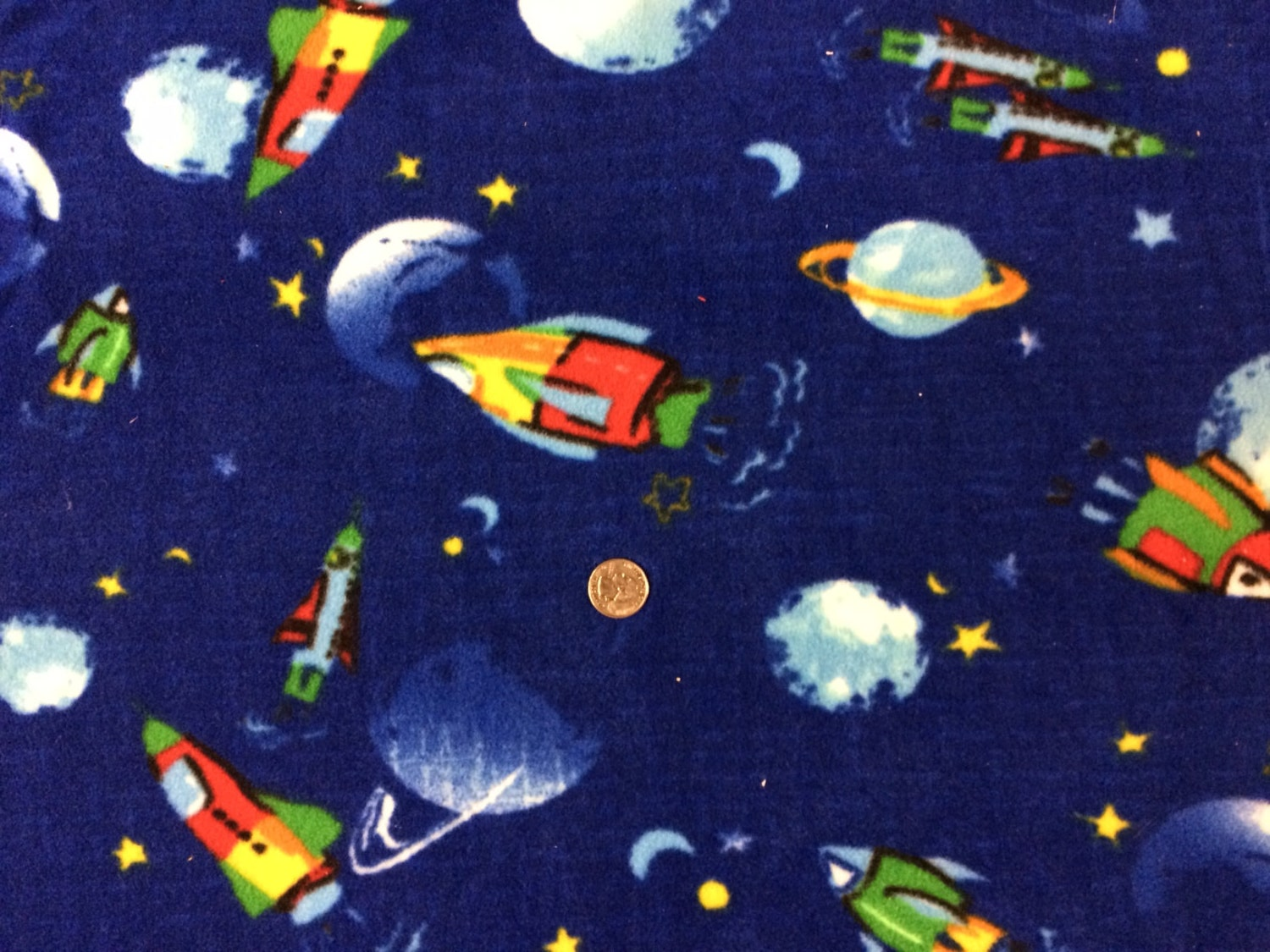 Outerspace on blue polar fleece fabric 1 yd for Space fleece fabric