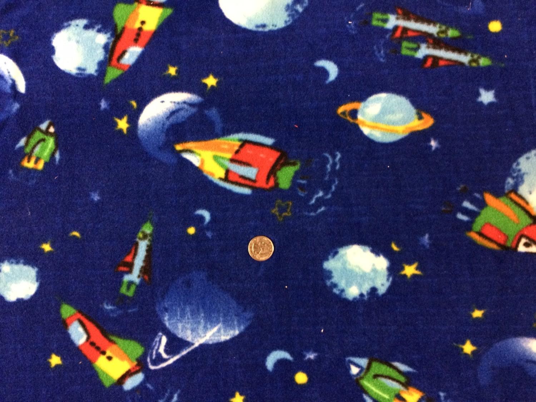 Outerspace on blue polar fleece fabric 1 yd for Spaceship fleece fabric