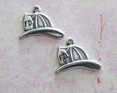 2 Silver Fireman's Hat Charms 3623