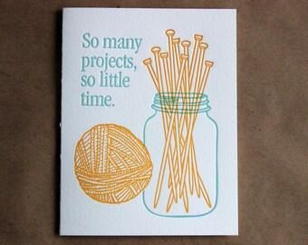 Letterpress Card - knitting jar of needles