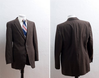 Men's Blazer/ 44 / Vintage Brown Pinstripe Jacket / Size 44 Large