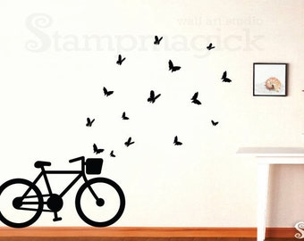 Bicycle Wall Decal with Butterflies - Bike Wall Art - Vinyl Wall Decal Graphics - K213